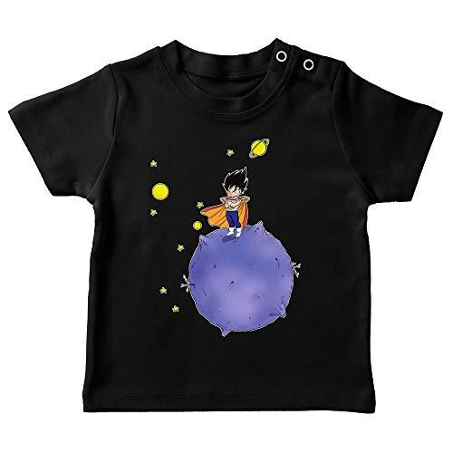 Okiwoki T-Shirt bébé Noir Parodie Dragon Ball Z - DBZ - Végéta - Le Petit Prince Saiyan (T-Shirt de qualité Premium de Taille 6 Mois - imprimé en France)