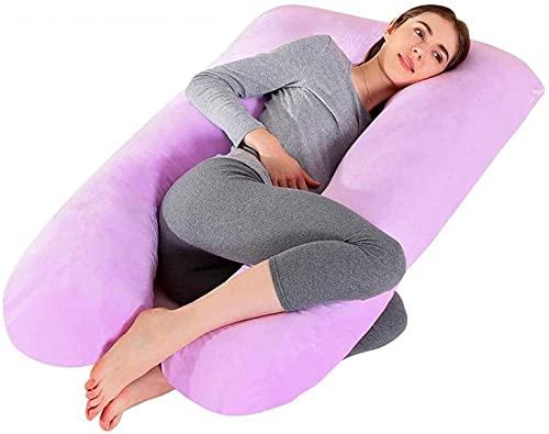 Almohada Embarazada Dormir, Multifuncional Embarazo Almohada de Cuerpo Completo con Funda de Almohada de Terciopelo Lavable
