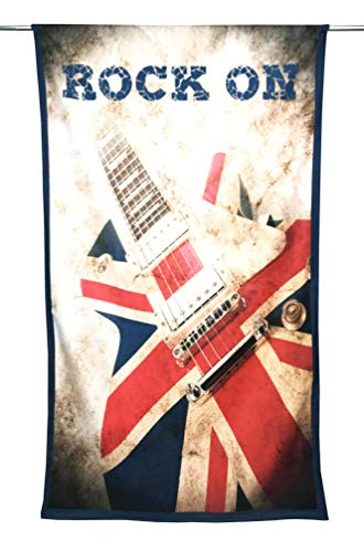 Tex family Toalla de playa de rizo Rock On, tamaño grande, 90 x 170 cm, guitarra eléctrica
