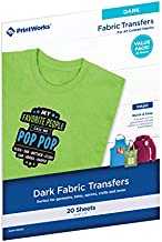 """Printworks Dark T-Shirt Transfers for Inkjet Printers, For Use on Dark and Light/White Fabrics, Photo Quality Prints, 20 Sheets 8 ½"""" x 11"""" (00545)"""
