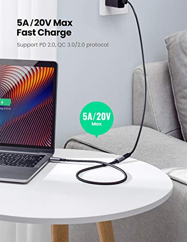 UGREEN USB Typ C Verlängerungskabel 0.5M, USB 3.1 Gen 2 Thunderbolt 3 Verlängerung Kabel USB-C 100W (20V/5A) mit 10 Gbps Sync kompatibel mit MacBook Pro, MacBook Air, Dell XPS, Galaxy S21 S20 A70 usw.
