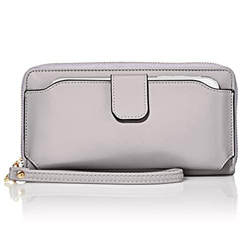 Amazon Essentials Women Wristlet Wallet with Cell Phone Holder RFID Blocking Zip Around Wallet PU, Grey
