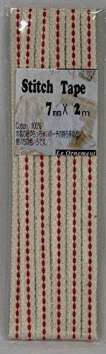 Cinta de costura de 7 mm de ancho 2 m 13 de color crudo beige / rojo