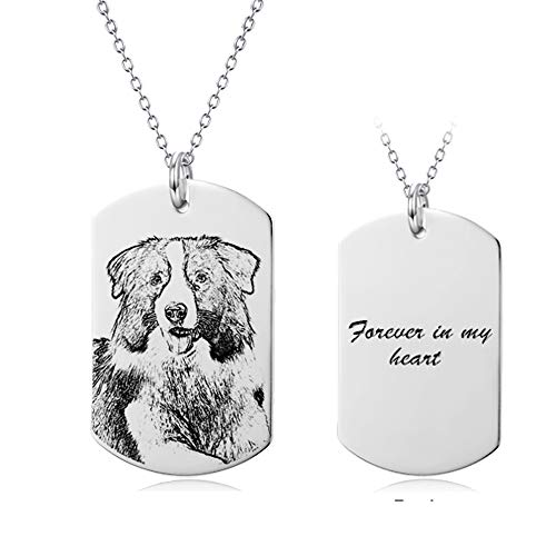LONAGO Personalized Photo Necklace Sterling Silver Custom Picture Rectangle Pendant Pet Dog Cat Tag Necklace for Mother Father's Day Teacher Gift