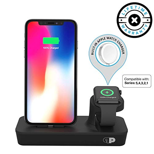 Charger Dock for Apple Watch & iPhone (Apple Certified), ONEDock DUO Power Station w/Built-in Original Apple Watch Charging Cable & Lightning Connector for Docking, Made for Series, 5,4,3,2,1, AirPods