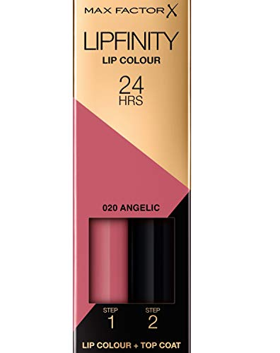 Max Factor Lipfinity Lip Colour Angelic 20 – Kussechter Lippenstift mit 24h Halt ohne auszutrocknen, mit intensiver Farbabgabe, präzisem Applikator & intensiv pflegendem Gloss-Top Coat