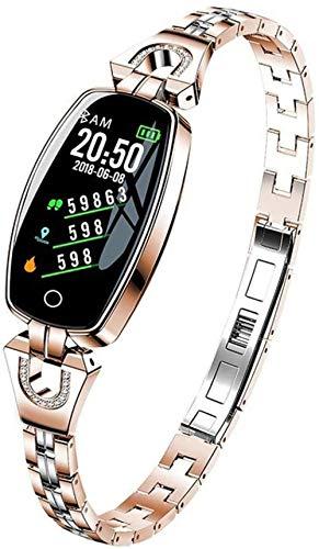 Pulsera de actividad física con monitor de frecuencia cardíaca, impermeable, inteligente, contador de pasos, contador de calorías, podómetro, reloj para niños, mujeres y hombres, color dorado