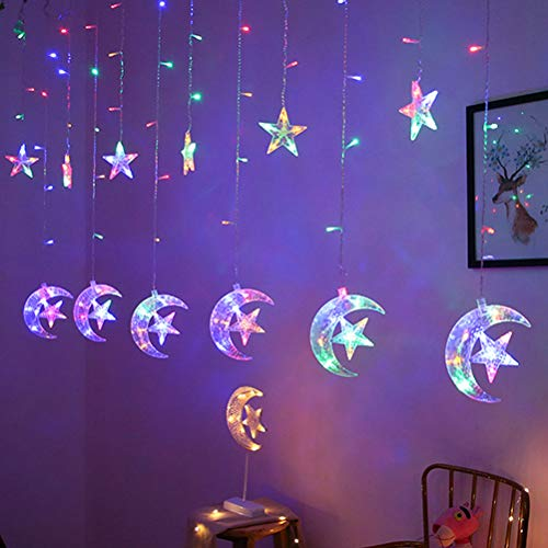 Uonlytech LED Star Curtain Lights, 138 LED Moon Star String Light, Window Curtain String Light for Wedding Party Home Garden Bedroom (2.5M, Colorful Light)