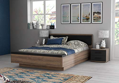 Zuari Rondino Queen Size Engineered Wood Bed With Hydraulic Storage (Particle Board - Mud Oak)