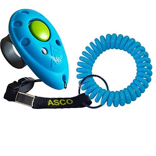 ASCO Clicker da Dito Premium con Bracciale a Spirale per clicker Training, clicker Professionale per Cani, Gatti e Cavalli, clicker per addestramento Cani, Blu AC04FS