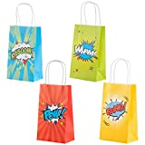 Action Hero Comic Book Gift Bags for Birthday Parties, Party Favor Goodie Bags (9 x 5.3 x 3.15 In, 24 Pack)