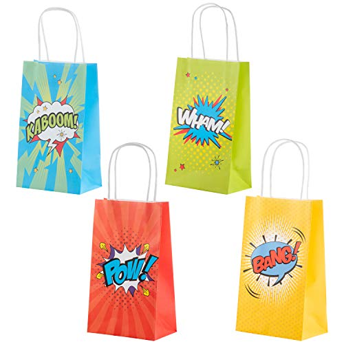 Juvale Bolsas de regalo para cómics de superhéroe, paquete de 24 bolsas de dulces para niños con asas, regalos, 4 diseños surtidos, 9 x 5.3 x 3.15 pulgadas