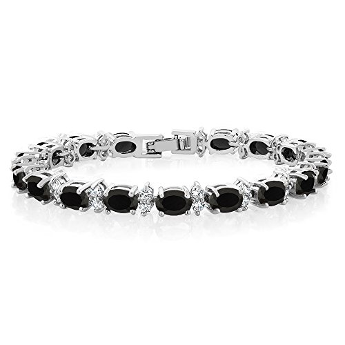 Gem Stone King 2000 Ct Gorgeous Oval and Round 7 Inch Sparkling Cubic Zirconia CZ Tennis Bracelet