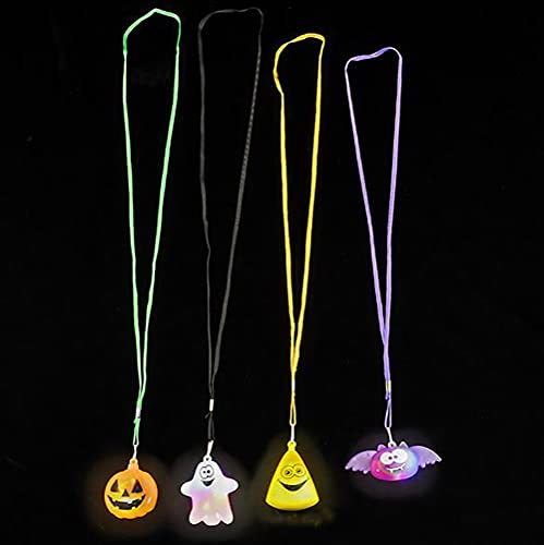 The Dreidel Company Halloween Light-Up Jewelry, Costume Accessory, Halloween Party Favor 1.5', Pack of 4 (Light-Up Necklaces)