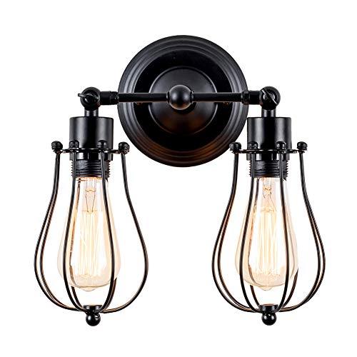 Wandlampe Retro Verstellbar Metall Wandlampe Antik Wandlampe Vintage Lampen Landhausstil für Landhaus Schlafzimmer Wohnzimmer Esstisch (Schwarz)