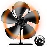 【最新改良版】 Snople ストーブファン 木製暖炉ファン 火力ファン エコファン 空気循環 5つブレード 薪ストーブ ファン 熱供給用品 暖房用(温度計付き)