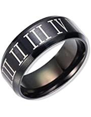 Black Titanium Steel Rings for Men Size 10US
