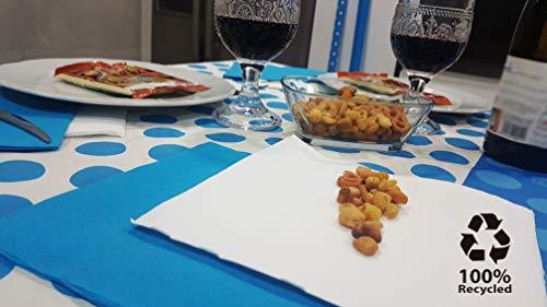 bissu - Mantel de Papel Damascado Desechable Antimanchas para Mesas de Comedor y Cocina Rectangulares de Colores | Rollo de 25 x 1.18 Metros. Biodegradable (Blanco con Lunares Azules)