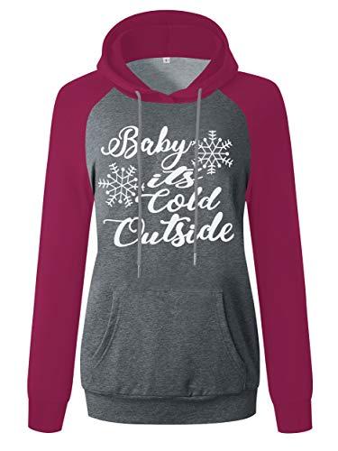 ANRABESS Merry Christmas Letter Print Raglan Shirt for Women Long Sleeve Hoodie Sweatshrit A312SD09jiushenhui-XXL