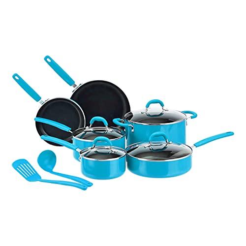 Amazon Basics - Juego de 12 utensilios de cocina antiadherentes de cerámica (ollas, sartenes y otros utensilios), turquesa