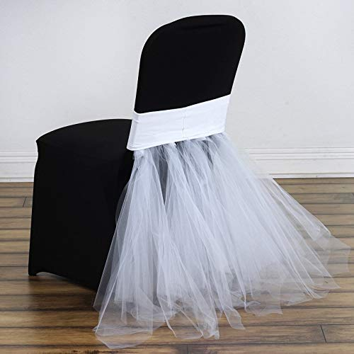 Efavormart White Bridal Wedding Party Stretchy Spandex Fitted Tulle Tutu Chair Skirts Dinning Event Slipcover for Banquet Catering