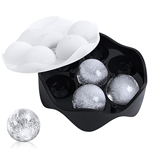 Silicone Sphere Ice Ball Maker, Ice Cube Tray-Easy Release & Flexible 7-Ice Ball Molds,design with Folding Funnel for...