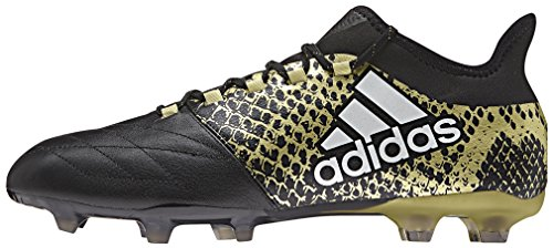 adidas Herren X 16.2 Fg Leather Fußballschuhe, Schwarz (Core Black/FTWR White/Gold Metallic), 44 2/3 EU