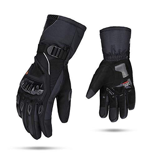Winter Motorradhandschuhe, Motorrad Handschuhe Winter, Touch Screen Handschuhe Wasserdicht Winddicht Sporthandschuhe Warm Handschuhe (XXL,Schwarz)