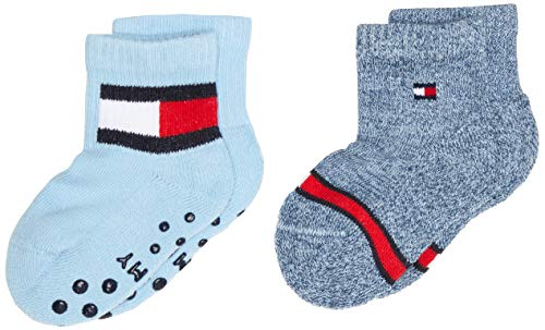 Tommy Hilfiger unisex-baby TH 2P FLAG Socks, blue combo, 15-18 (2er Pack)