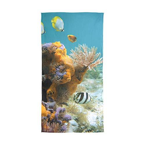 XiangHeFu Vida submarina Gusano plumero Coloridas esponjas Envoltura de gasa de pescado Bufanda de seda Silenciador Verde Chal Pauelo para el cuello