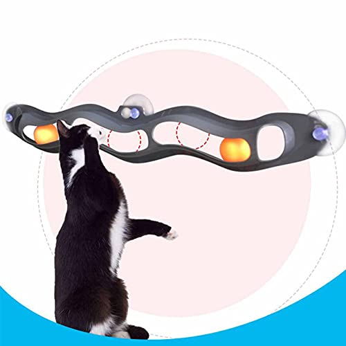 ZKPBTIZL Cat Track Ball Toy with Sucker - Pet Trackball Toy, Pet Educational Toys, Wall-Mounted Plastic Table Tennis Cat Toys, Chasing & Exercising Needs Suitable for Multiple Cats (1PCS)