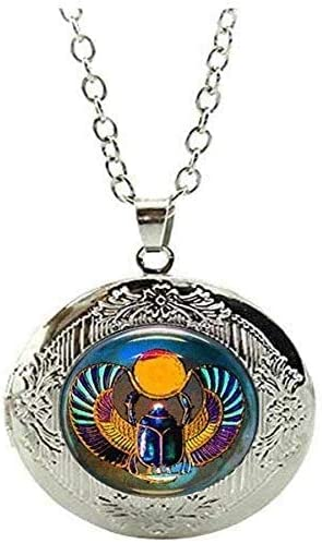 Egyptian Scarab Locket Necklace Egyptian Jewelry Art Picture Jewelry