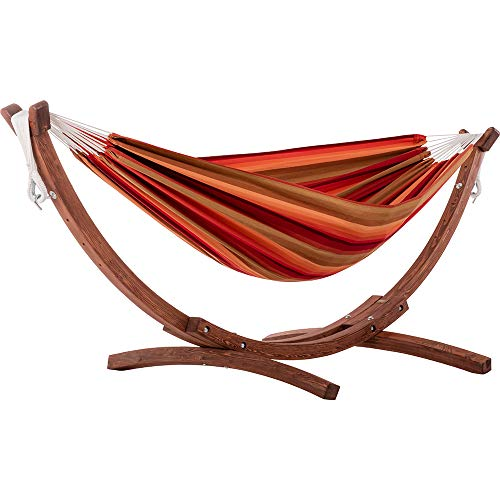 Vivere Double Sunbrella Hammock with Solid Pine Arc Stand, Token Surfside