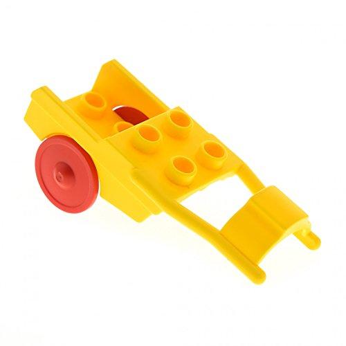 1 x Lego Duplo Pferde Anhänger gelb Rad rot Pony Wagen Kutsche Karren Horse Drawn Cart 6373c01