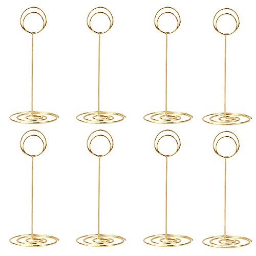 10 Pack 8.75 inch Tall Table Number Holders Place Card Holder Table Picture Holder Wire Photo Holder Clips Picture Memo Note Photo Stand (Silver) Gold-20