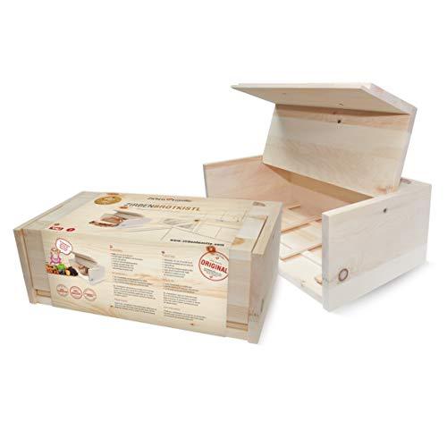 Brotkasten aus duftendem Zirbenholz • Beste Aufbewahrung für Brot • hält Gebäck und Kuchen länger frisch
