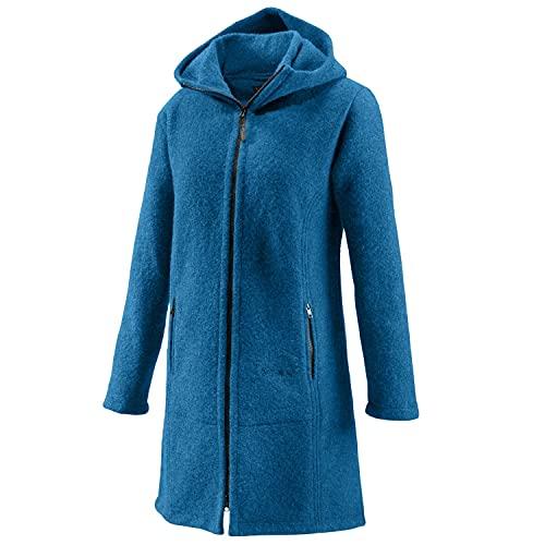 Mufflon Damen-Wollmantel Mu-Jana W100 mit Kapuze Arctic blau - XXL