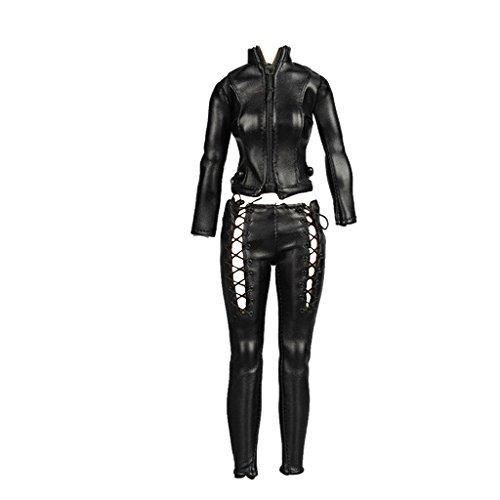 Figura femenina de 1/6 de escala femenina, traje completo hecho a mano, camisa de cuero + pantalones + chaqueta abrigo traje para figura de acción masculina de 30,5 cm, TBLeague negro