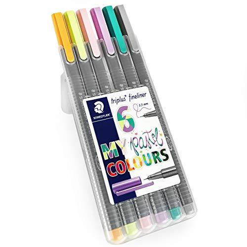 Staedtler Triplus Fineliner Pens - 0.3mm - Dry Safe - Pastel Colours - Wallet of 6