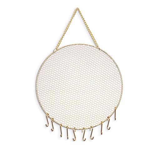 JIUYECAO Présentoir à bijoux rond en fer forgé - Décoration intérieure exquise en forme de grille en métal - Support mural pour boucles d'oreilles - Organiseur de bijoux avec crochets pour pendre