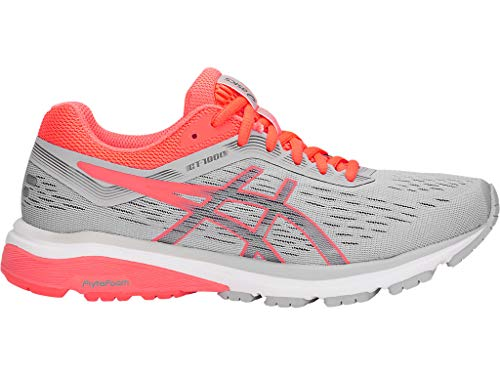 ASICS Women's GT-1000 7 Running Shoes, 8.5M, MID Grey/Flash Coral