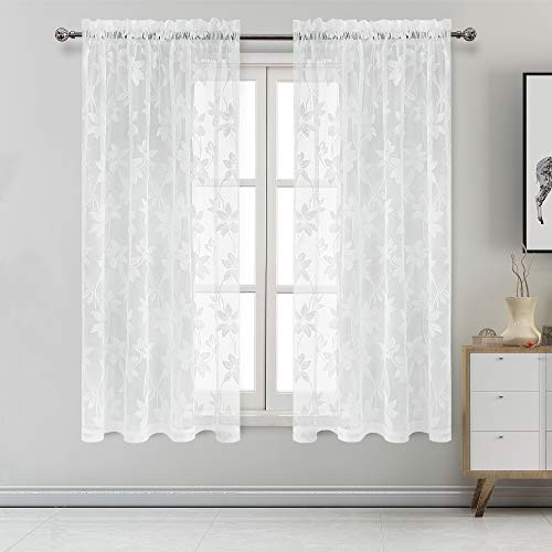 DWCN Floral Lace Sheer Curtains - Rod Pocket Window Voile Sheer Drapes for Bedroom Kitchen Short Curtains 52 x 72 inches Long, Set of 2 White Curtain Panels
