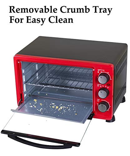 Luby Convection Toaster Oven with Timer, Toast, Broil Settings, Includes Baking Pan, Rack and Crumb Tray, 6-Slice, Red