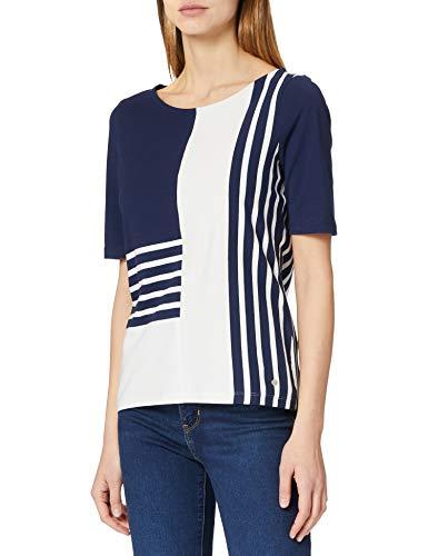 Gerry Weber T-Shirt 3/4 Arm, Blu/Ecru/Bianco a Righe, 54 Donna