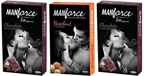 Manforce Chocolate(Wild)(20 Condoms) Flavor, Hazelnut Flavor Extra Dotted Condom For Men (10 Condoms) Total 30 Condoms