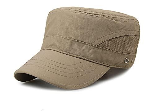 Gorra para el Sol de Malla Fina de Secado rápido de Verano para Hombre, Sombreros de Copa Plana para Exteriores, Sombrero Transpirable, Gorras de Gran tamaño para Hombre, 56-62cm-Khaki-56-62cm