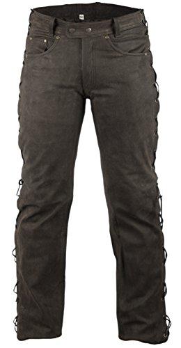 MDM Lederhose Bikerlederhose Bikerjeans Lederjeans in Nubuk Leder seitlich geschnürt (38)
