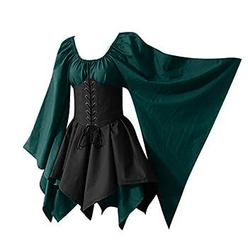 Women s Medieval Renaissance Costume Dress Vintage Cosplay Victorian Gothic Corset Dress S-5XL  S Green