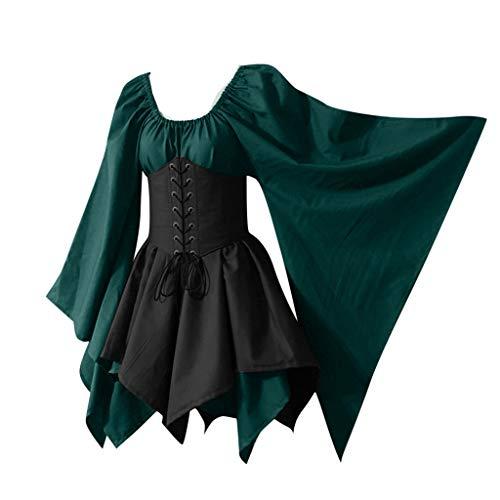 YZWC Damen Mittelalter Kleid mit Trompetenärmel Gebunden Taille Gothic Retro Midi Kleid Renaissance Cosplay Kostüm Kleid Gothic Kleid Karneval Halloween Party