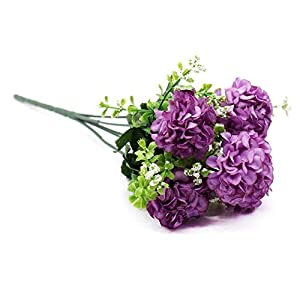 1 Bouquet 5 heads Artificial Flower Hydrangea Silk Fake For Baby Shower Valentine's Day Wedding Festival Party Home Decor,purple